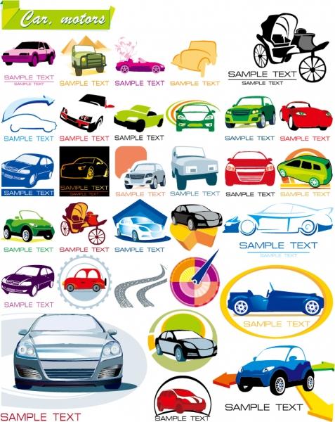 歴代の乗用車を描いたアイコン some graphics on the car icon
