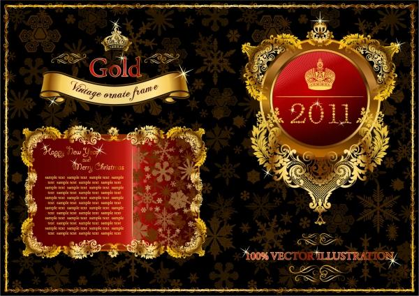 豪華な金色のラベル デザイン見本 Vintage Gold Elements3