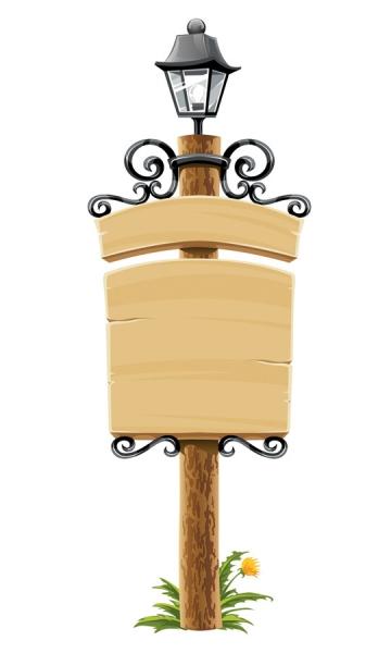 木製掲示板のクリップアート wooden bulletin board lights3