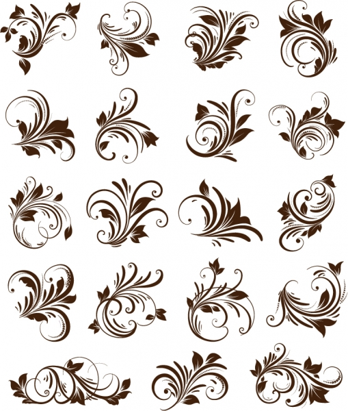 曲線が美しい植物の飾り罫 Floral Ornament Element Vector Graphics