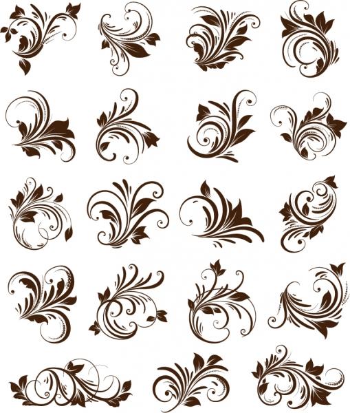 曲線が美しい植物の飾り罫 Floral Ornament Element Vector Graphics