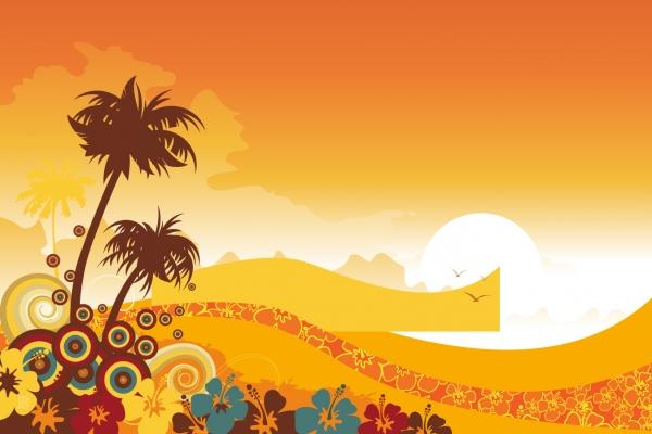 トロピカルな夕日の背景 Tropical sunset Background