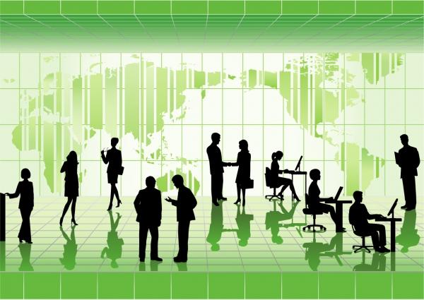 働くビジネスマンのシルエット business people silhouette vector