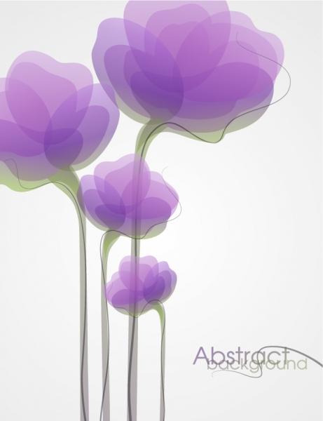 淡い紫色の花びらが重なる背景 Abstract Flower Background