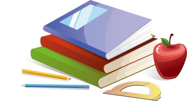 本を重ねたクリップアート variety of clip art books3