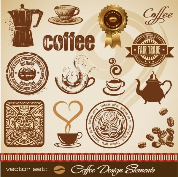 珈琲を題材にしたデザイン エレメント gold coffee theme vector