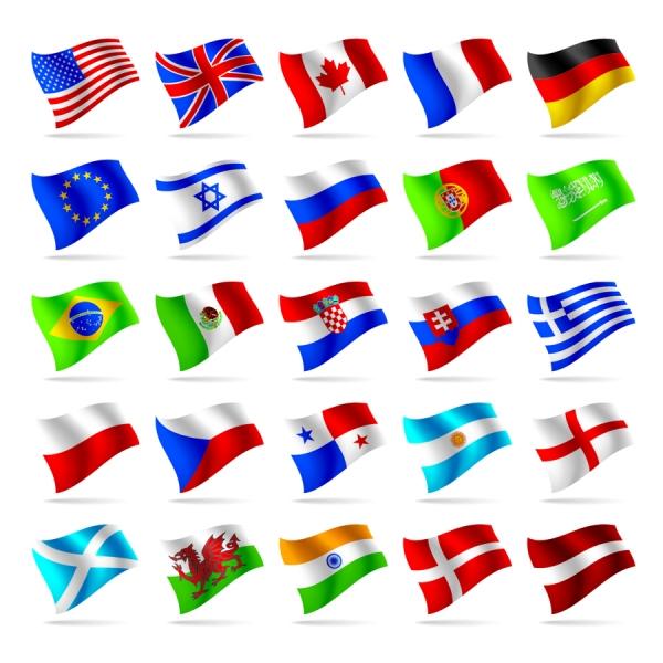 風になびく各国の国旗 countries and regions flag1