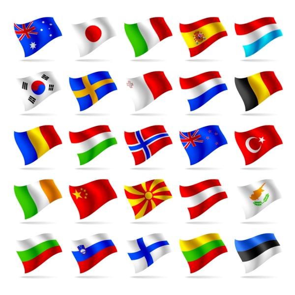 風になびく各国の国旗 countries and regions flag2