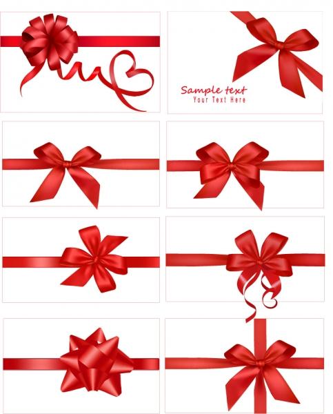 お祝いの真っ赤なリボン飾り vector festive gift bow