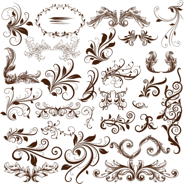 蔓を巻いた飾り罫 Swirl Floral Element Vector Illustration
