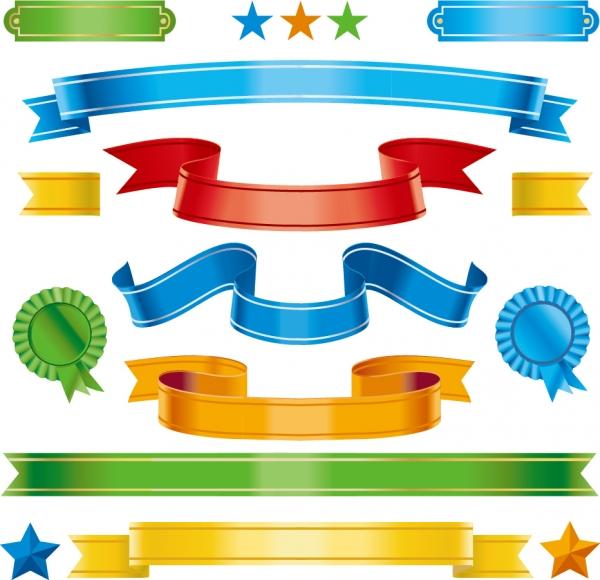 メダルを飾るリボンバナー ribbon banner badges medals