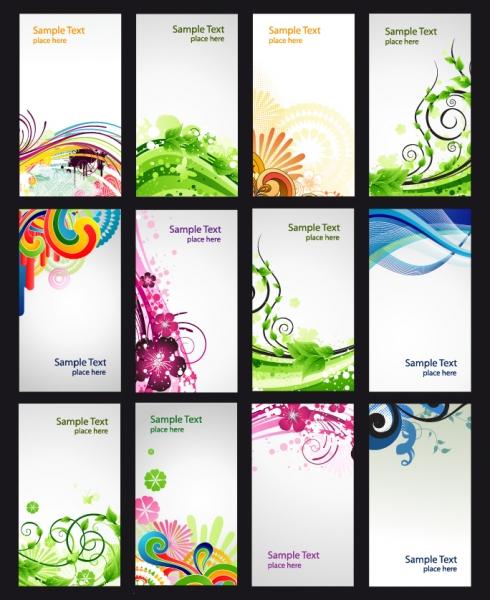 お洒落な曲線が美しいカードの背景見本 colorful pattern card vector