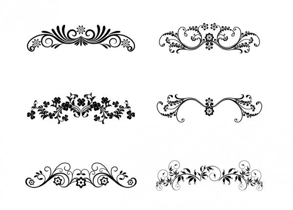 美しい曲線の植物柄オーナメント Floral Ornamental Design Elements