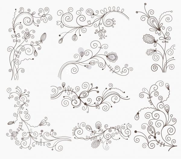 蔓を巻いた曲線が美しい飾り罫 Swirl Floral Decorative Elements
