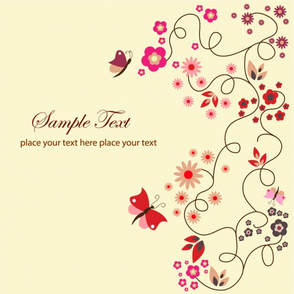 美しい花に舞う蝶の背景 Vector Floral Greeting Card