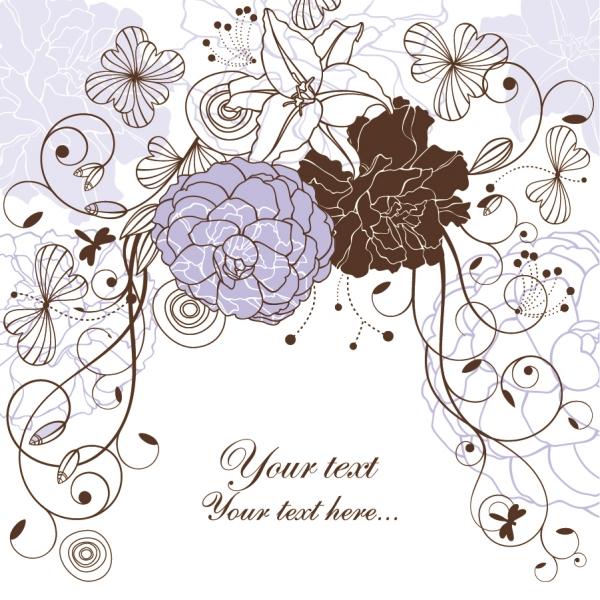 線画の花ビラが美しい背景 seamless floral background