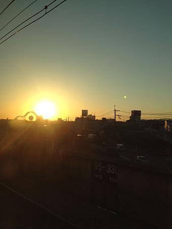 新幹線より夕日