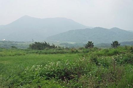 草原と遠くの山