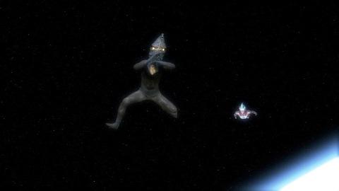 宇宙空間でケムール人(SD)を追いかけるウルトラマンギンガ