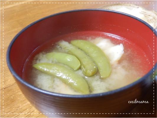 サヤエンドウの味噌煮