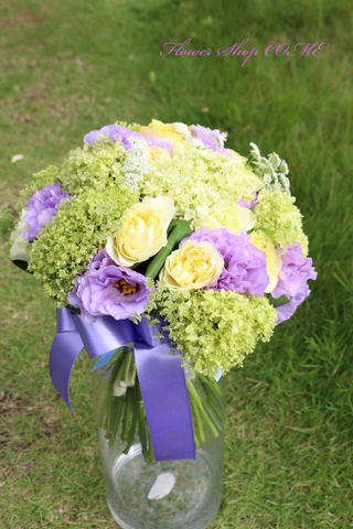 紫 グリーン ナチュラルブーケ