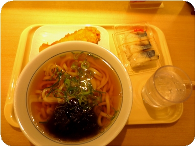 昆布うどん+ささみ天+鯖寿司
