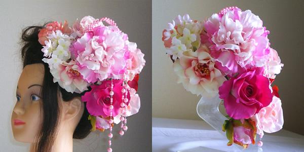 ピンク芍薬とローズの結婚式髪飾り