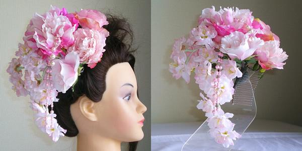 大輪しゃくやくと桜の成人式髪飾り