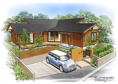 一戸建て住宅 木造住宅 注文住宅 完成予想図 ペン画 外観パース 手書きパース 手描きパース フォトショップ photoshop