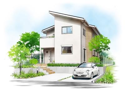 一戸建て住宅 木造住宅 注文住宅 北欧 ナチュラル 完成予想図 ペン画 外観パース 手書きパース 手描きパース フォトショップ photoshop