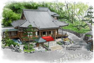 神社 仏閣 寺院 鳥瞰パース 外観パース 手描きパース 手書きパース スケッチパース イメージイラスト フォトショップ