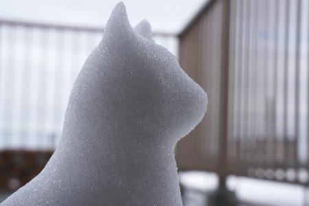 今年はこれで終わり、雪だるまの、にゃん