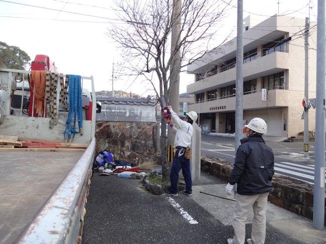 樹木撤去と掲示板移設